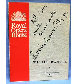 1990 Signed by Pavarotti. Royal Opera House Programme. L'Elisir d'Amore