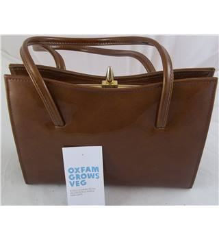 Ladies Gold Coloured Patent Finish Handbag. Unbranded - Size: M