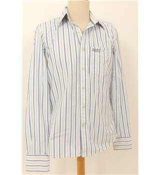 Super Dry Size L White Shirt with Blue Stripes