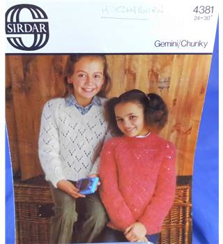 Sirdar 4381 Girl's sweaters 'V' and Round Neck Sweater Knitting Pattern