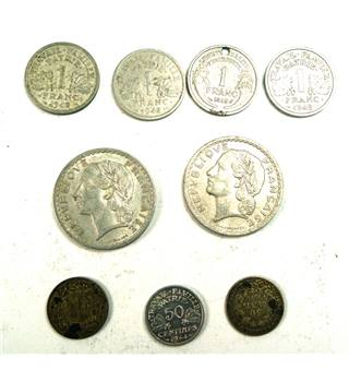 France Five Franc Coins and One Franc Coins