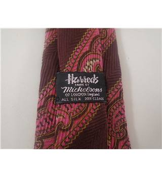 Michelsons for Harrods Pure Silk Brown Tie With Pink Paisley Pattern