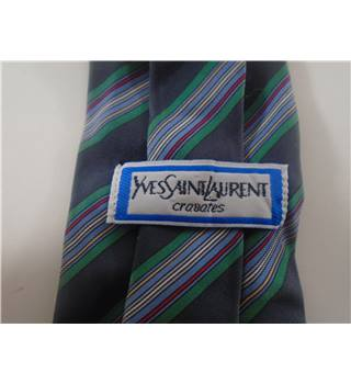 Yves Saint Laurent Grey Silk Stripe Tie