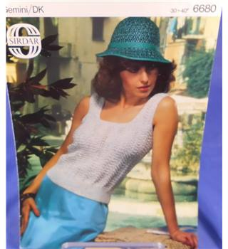 Sirdar 6680 Ladies Sleeveless Square Necked Top Knitting Pattern