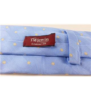 T M Lewin Pale Blue With Yellow Flower Pattern Pure Silk Mens Tie