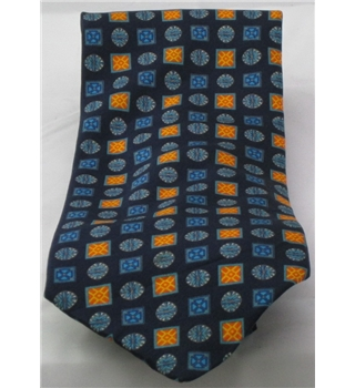 Valentini silk tie with orange and blue patterened squares