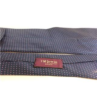 T M Lewin Navy Blue With Pink Polka Dot Pure Silk Mens Tie