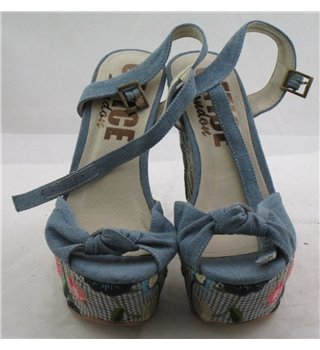 Office, size 3/36 denim blue platform block heeled sandals