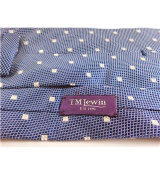 T M Lewin Dark Blue With White Squares Pure Silk Mens Tie