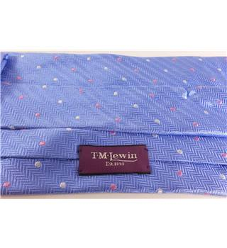 TM Lewin Blue Silk Tie with White and Pink Spots