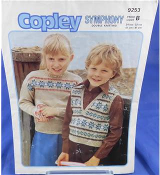 Copley 9253 Children's Slipover and Sweater Knitting Pattern