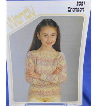Wendy 2091 Girl's Lacy Sweater Knitting Pattern