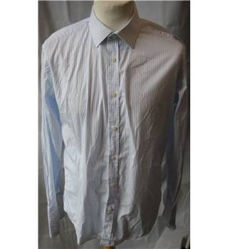 Hawes & Curtis 100% cotton Slim Fit blue stripe shirt XL 16 Hawes & Curtis - Size: XL - Blue - Long sleeved