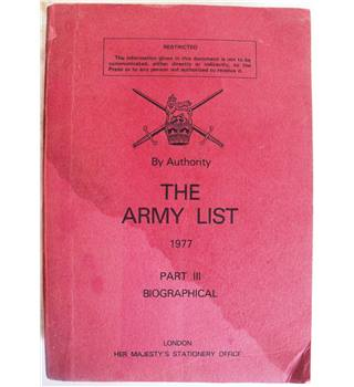 The Army List 1977: Part III, Biographical