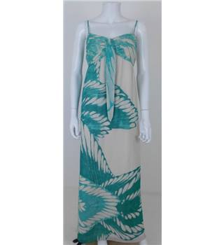 Coast Size 12 Ivory and Turquoise Maxi Dress