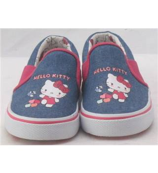 NWOT M&S Kids, size 8/25.5 blue canvas Hello Kitty slip on shoes