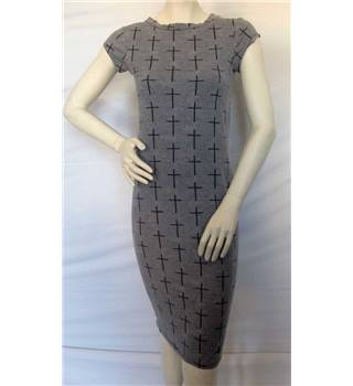 River Island size 8 grey Easter crosses design sleeveless dress