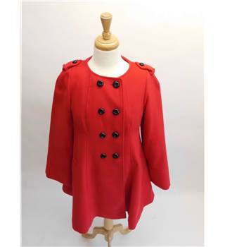 BNWT F&F Red Collarless Military Coat Size 12