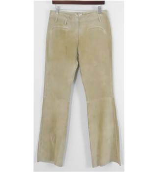 BNWT Full Circle Waist Size 30 Sand Leather Suede Trousers