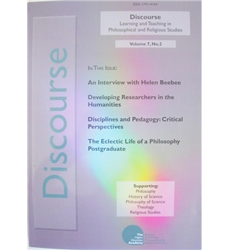 Discourse:  Learning and Teaching in Philosophical and Religious Studies. Volume 7. Number 2. Spring 2008