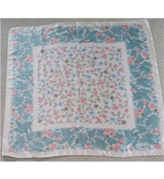 Floral Square Scarf - Green, Pink, Blue on Cream