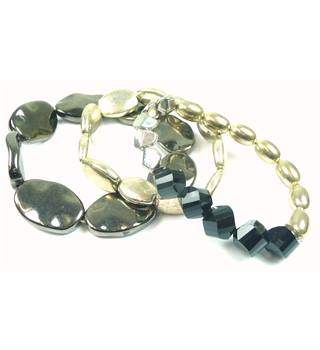 Brown, gold, silver & black plastic bead stretchy bracelets x 3