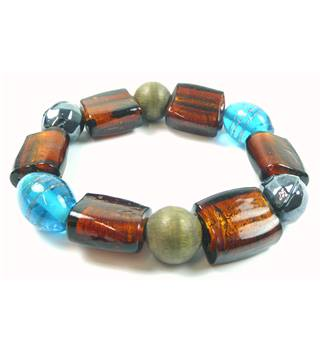 Brown, blue, grey, green glass & wood bead stretchy bracelet
