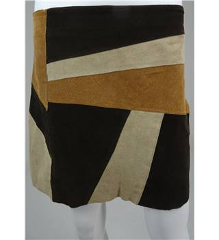 Brown / Beige Patchwork Suede Mini Skirt Size 12