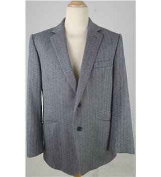 Jaeger L Charcoal Grey Striped Blazer