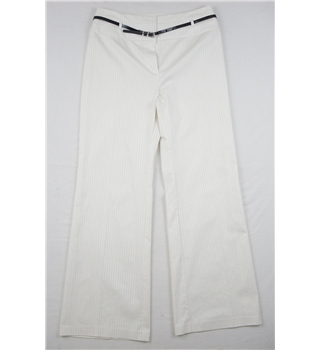 M&S - Size 14 - Cream - Pinstriped Trousers with Belt