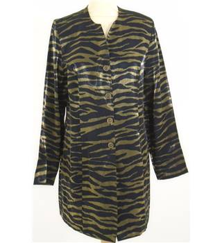 Outline- Longer Length Jacket Size 12 Black and Gold Animal Print