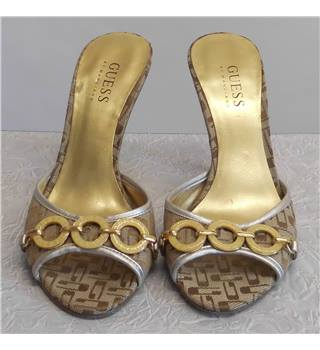 GUESS by Marciano Beige Stiletto Sandals - Size: 4 - Gold - Heeled shoes