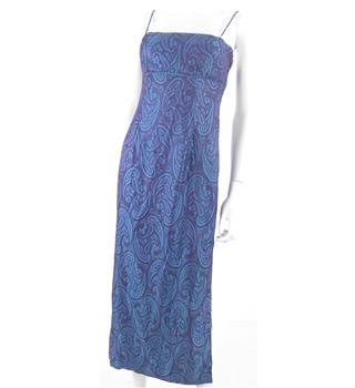 Vintage 1990s Morgan and Co, by Linda Bernell Size 6 Blue and Aubergine Paisley Dress