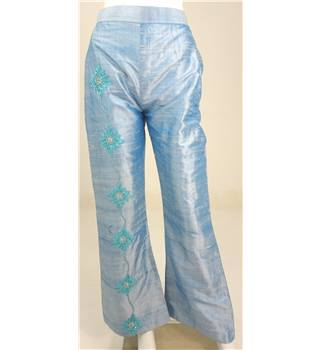 Vintage Size 8 Embroidered Pastel Blue Trousers