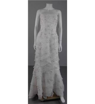Eternity Bridal Size 8 White Floral Embellished Strapless Dress