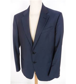 "Aquascutum Size: L, 42"" chest, tailored fit Navy BlueSmart/Stylish Wool Designer Single Breasted Blazer With Gold Effect Buttons"