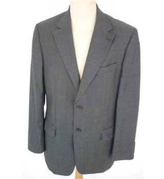 "Austin Reed Size: Large, 42"" chest, tailored fit Basalt Grey & Blue Check Smart/Stylish Wool Designer Single  Breasted Jacket."