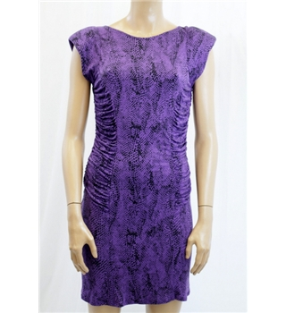 Butterfly by MW Size 12 Purple and Black Fitted Dress