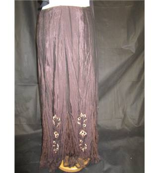 Per Una - Marks and Spencers - Lined - Crinkle Look Skirt - Gypsy - Brown - Size 12 L