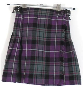 James Pringle Weavers Size 3-4 Yrs Purple and Grey Checked Wool Kilt