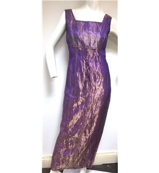 Henry & Daughter Size 10  Metallic Purple 100% Silk Dress Evening Dress