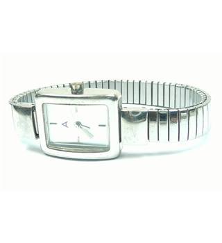 Avon silver tone rectangle face stretchy watch