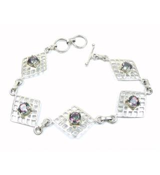 Handmade silver filigree diamond shape with rainbow faceted crystal link bracelet - 925