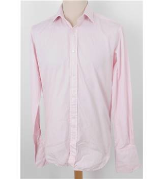 T M Lewin L Baby Pink Striped Shirt