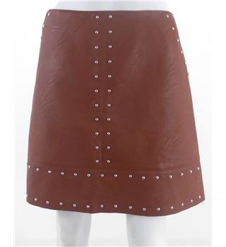 Warehouse Size 10 Brown Faux Leather Skirt With Metal Detailing