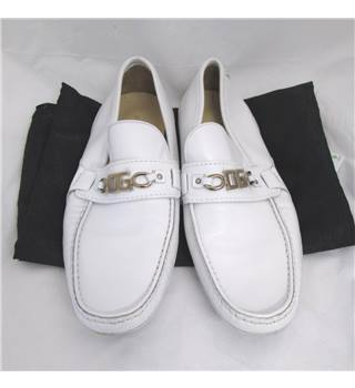 Dolce and Gabbana Size 11 White Leather Loafers Dolce and Gabbana - Size: 11 - White
