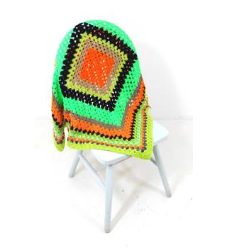 Neon Green & Orange Handmade Crochet Blanket