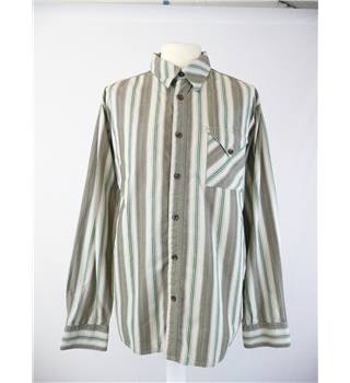 "Fat Face  size XL  / 16.5"" green mix  striped cotton shirt  long sleeves"