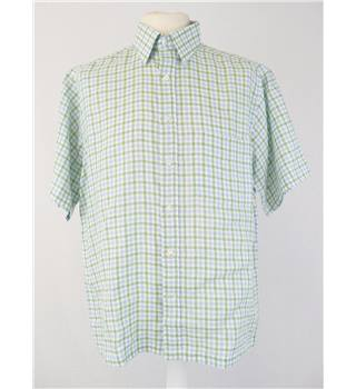 As new  Zodiac size L  green, blue, white check linen  short sleeve shirt