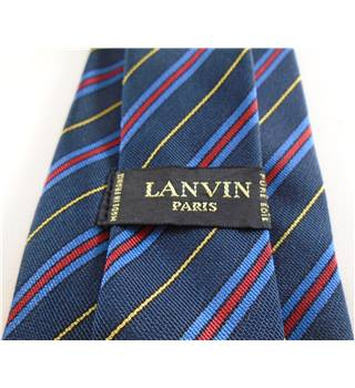 Lanvin Midnight Black Multi Coloured Striped Silk Tie